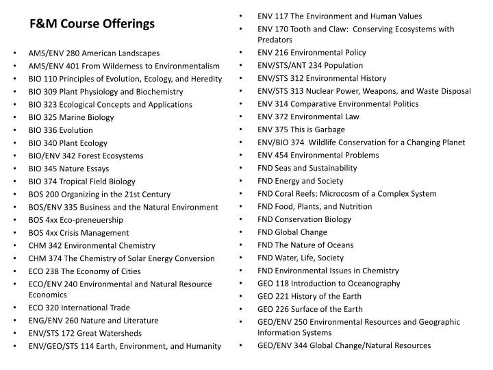 F&M Course Offerings