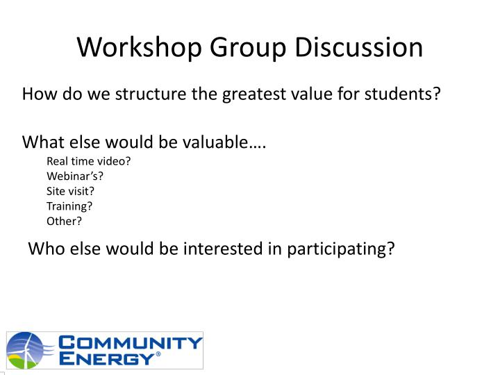 Workshop Group Discussion