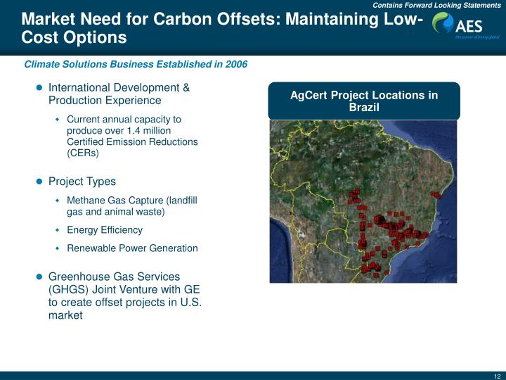Market Need for Carbon Offsets: Maintaining Low-Cost Options