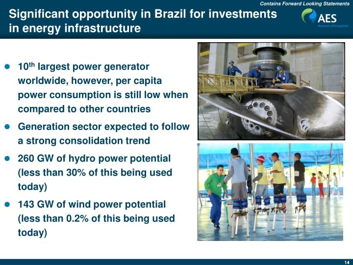 Significant opportunity in Brazil for investments in energy infrastructure