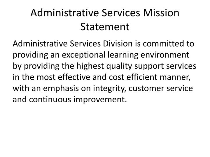 Administrative services mission statement