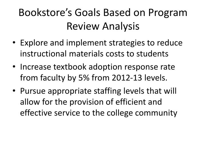 Bookstore's Goals Based on Program Review Analysis