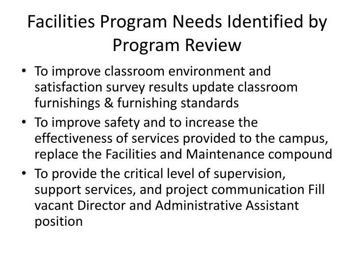 Facilities Program Needs Identified by Program Review