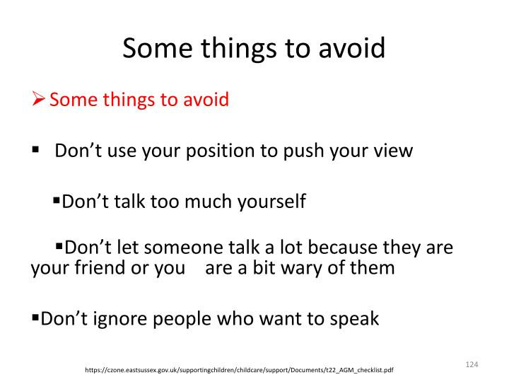 Some things to avoid
