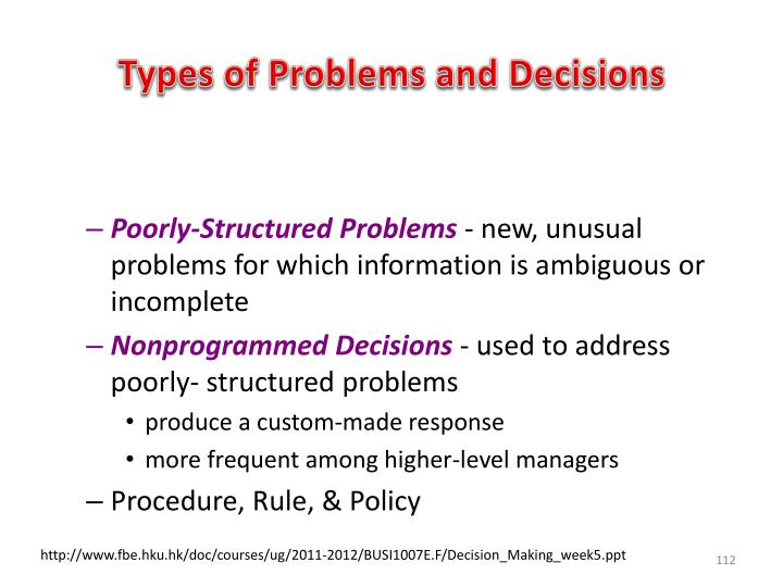 Types of Problems and Decisions
