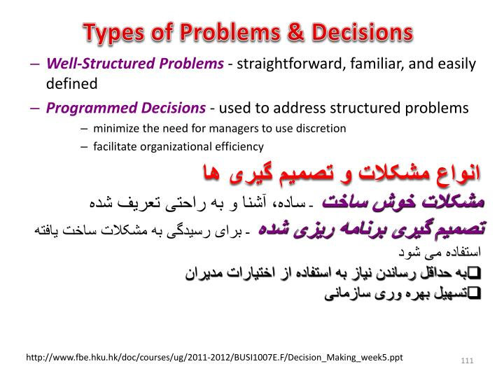 Types of Problems & Decisions