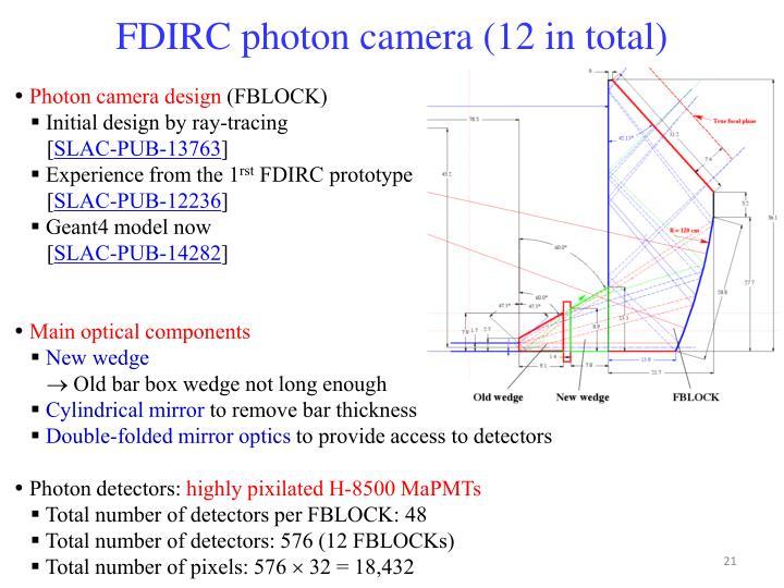 FDIRC photon camera (12 in total)