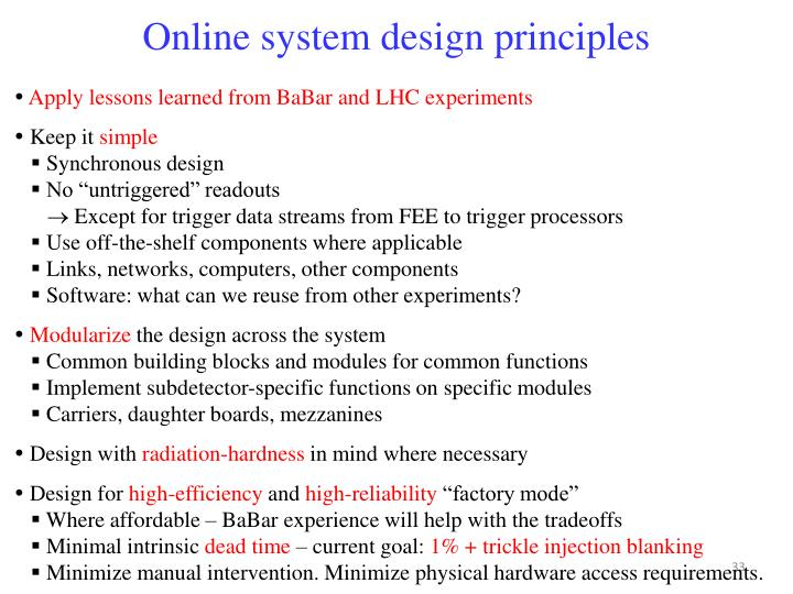 Online system design principles