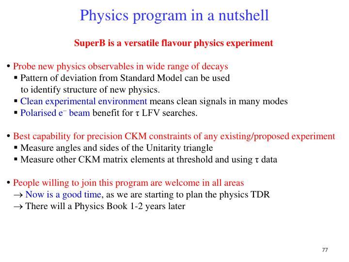 Physics program in a nutshell