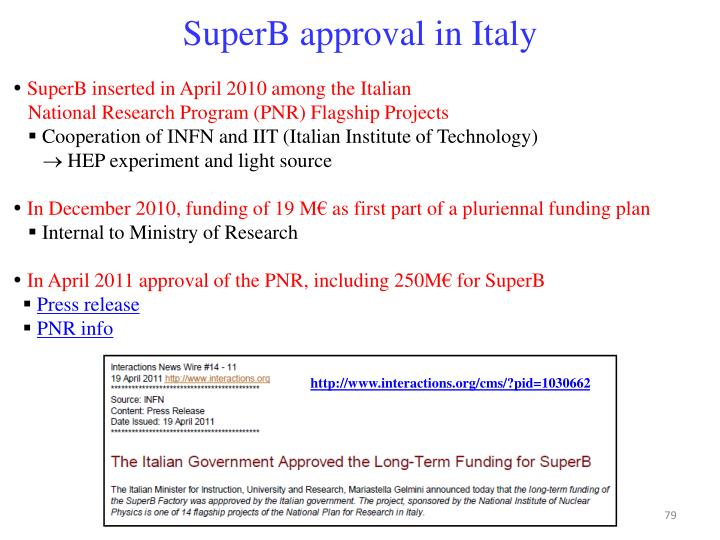 SuperB approval in Italy