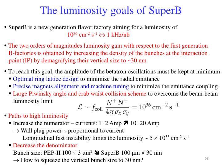 The luminosity goals of SuperB