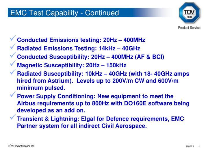 EMC Test Capability - Continued