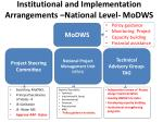 institutional and implementation arrangements national level modws