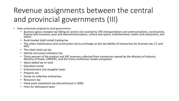 Revenue assignments between the central and provincial governments (