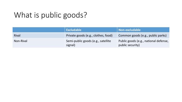 What is public goods?