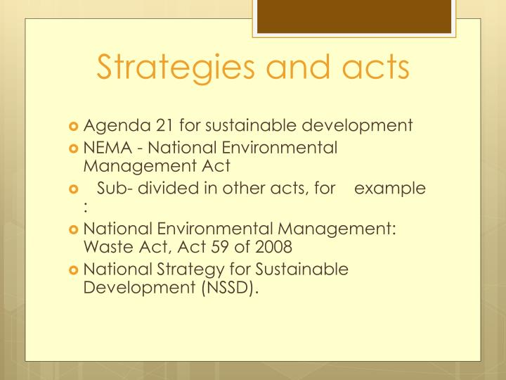 Strategies and acts