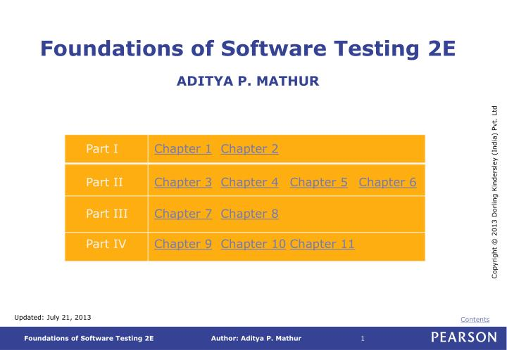 foundations of software testing 2e aditya p mathur n.