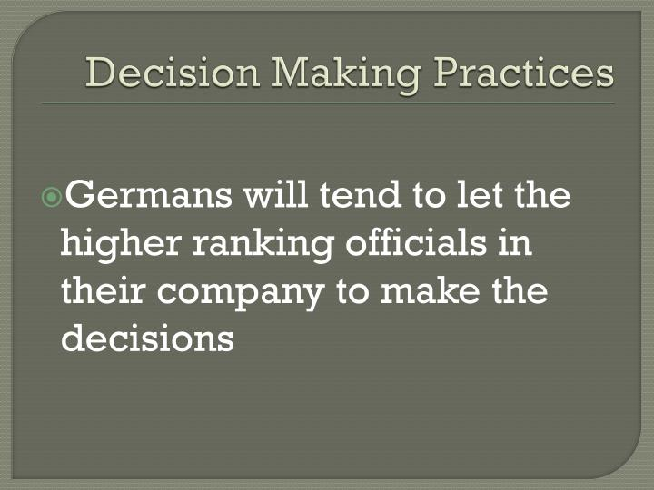 Decision Making Practices