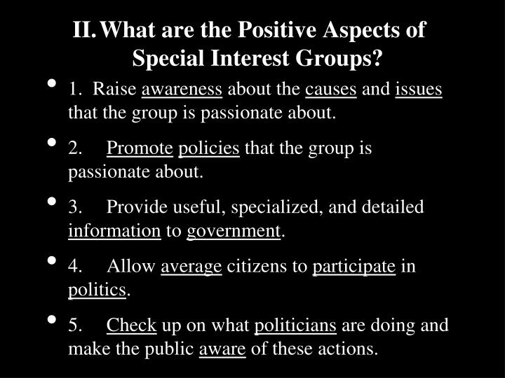 Ii what are the positive aspects of special interest groups
