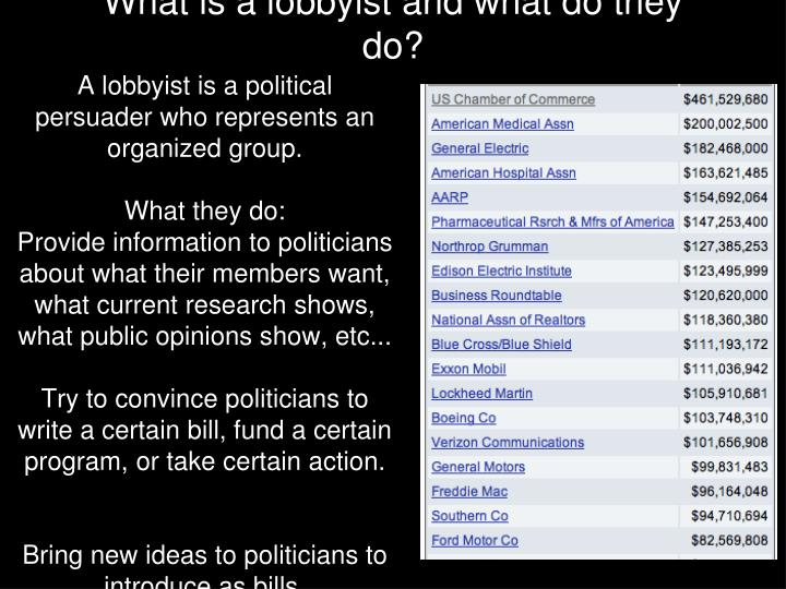 What is a lobbyist and what do they do?
