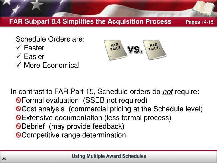 FAR Subpart 8.4 Simplifies the Acquisition Process