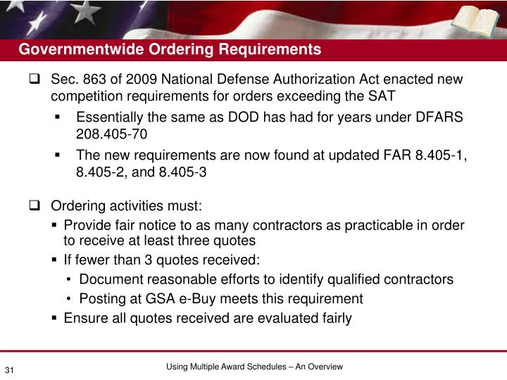 Governmentwide Ordering Requirements