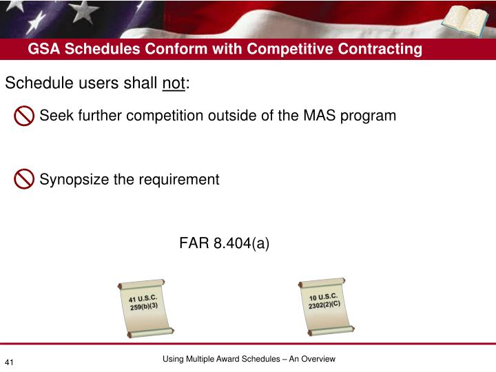 GSA Schedules Conform with Competitive Contracting