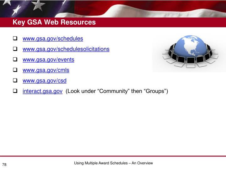 Key GSA Web Resources