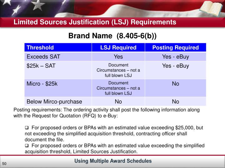 Limited Sources Justification (LSJ) Requirements