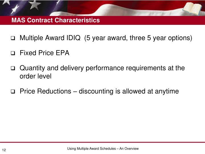 MAS Contract Characteristics