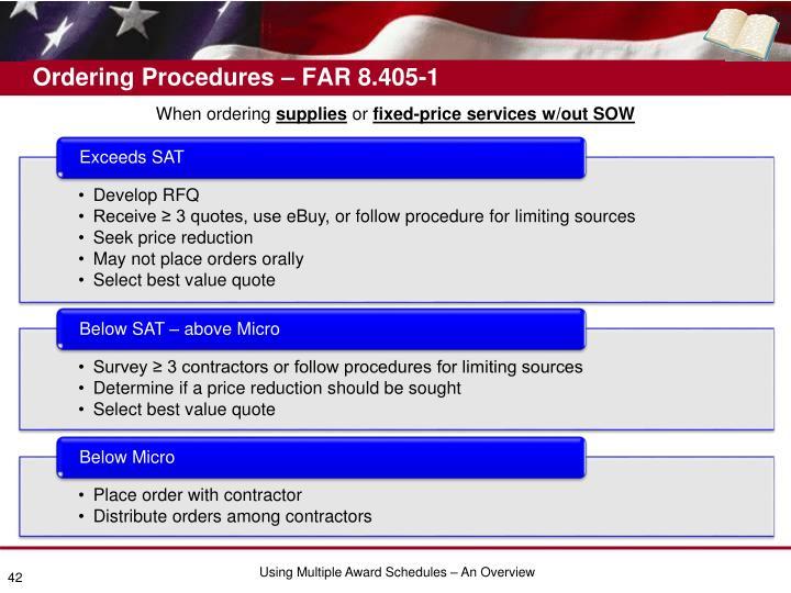 Ordering Procedures – FAR 8.405-1