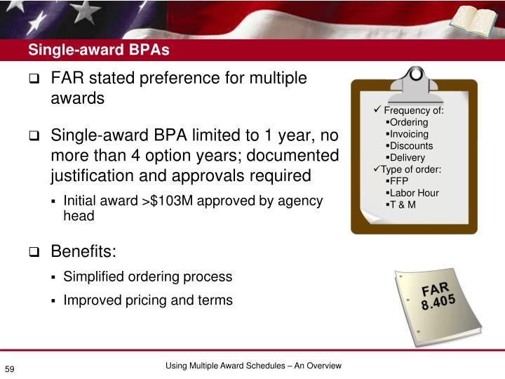 Single-award BPAs