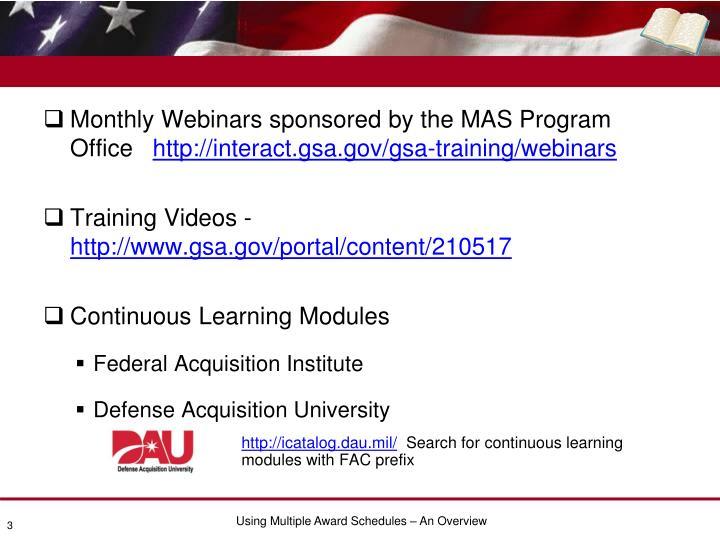 Webinars and online training