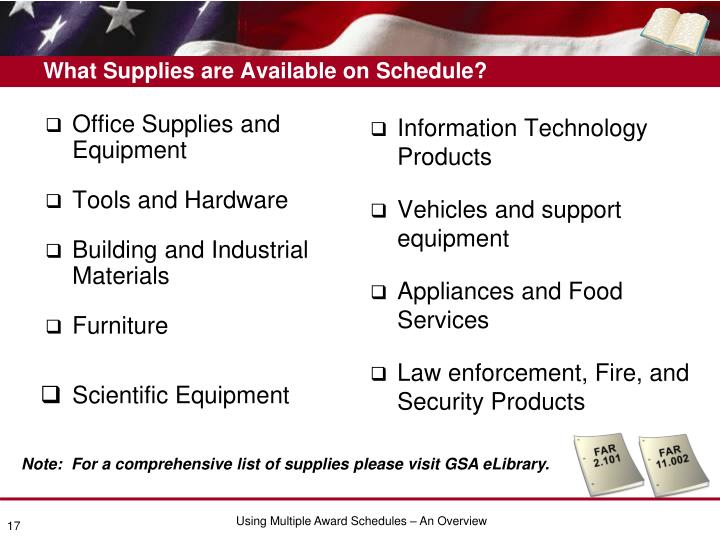 What Supplies are Available on Schedule?
