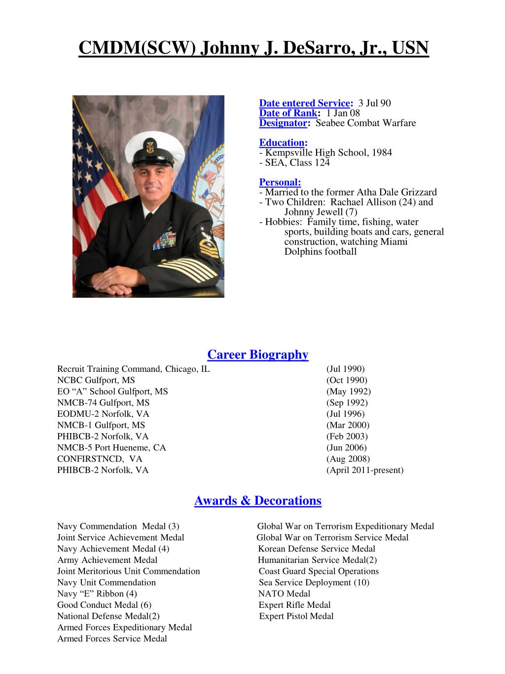 PPT - CMDM(SCW) Johnny J  DeSarro, Jr , USN PowerPoint