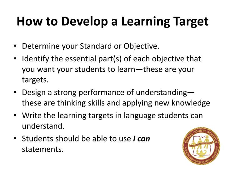 How to Develop a Learning Target