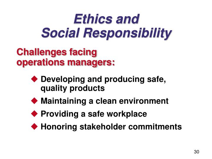 operations management and ethical issue The role of business ethics in management responsibilities organizations place a considerable amount of trust in their management from the ceo on down, managers have a responsibility in ensuring that both they and their subordinates behave ethically and in the best interest of both primary and secondary stakeholders.