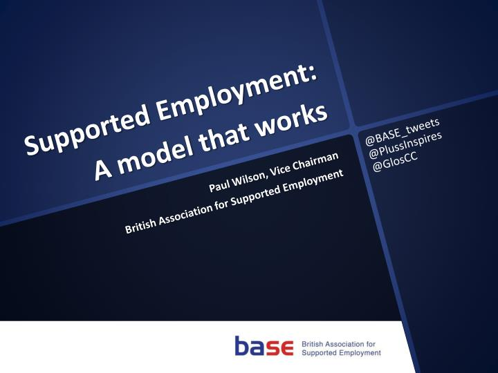 supported employment a model that works n.