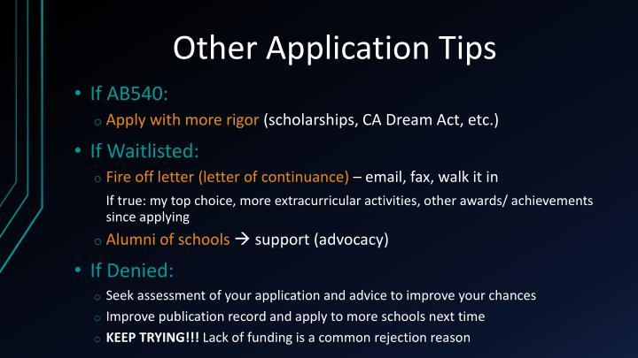 Other Application Tips
