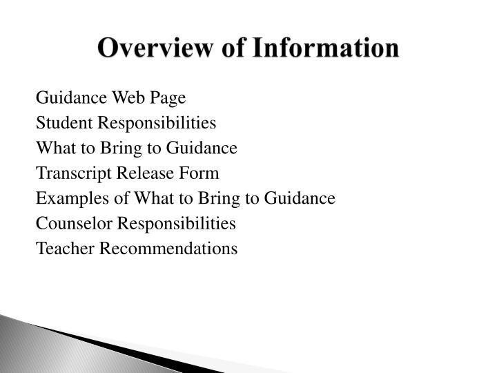 Overview of information