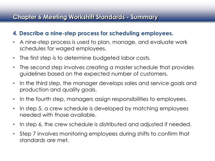 4. Describe a nine-step process for scheduling employees.