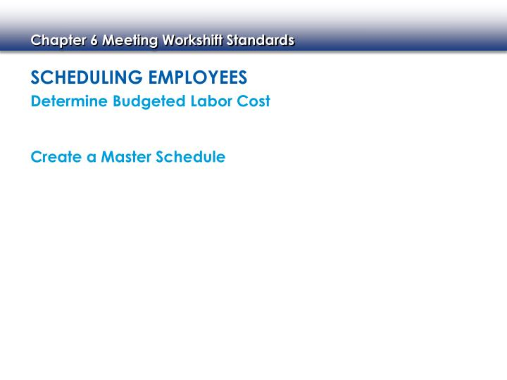 Scheduling Employees