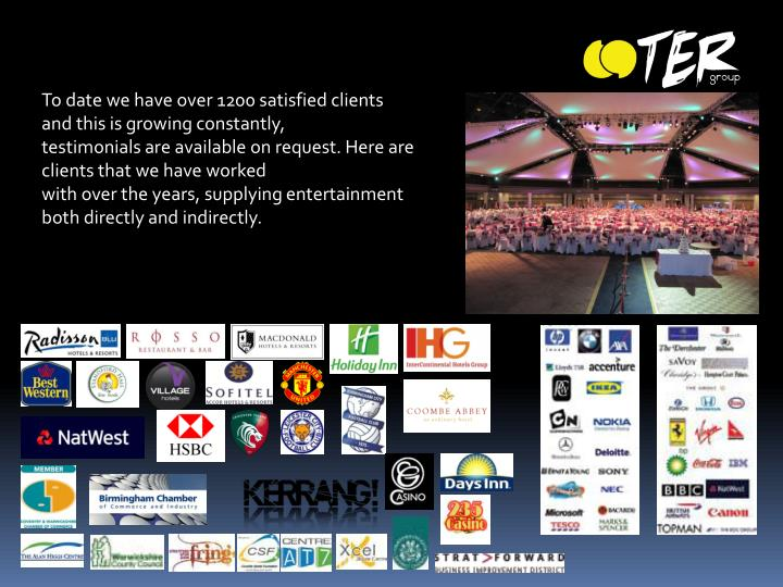 To date we have over 1200 satisfied clients and this is growing constantly,