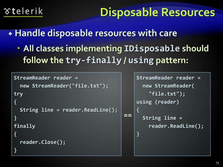 Disposable Resources