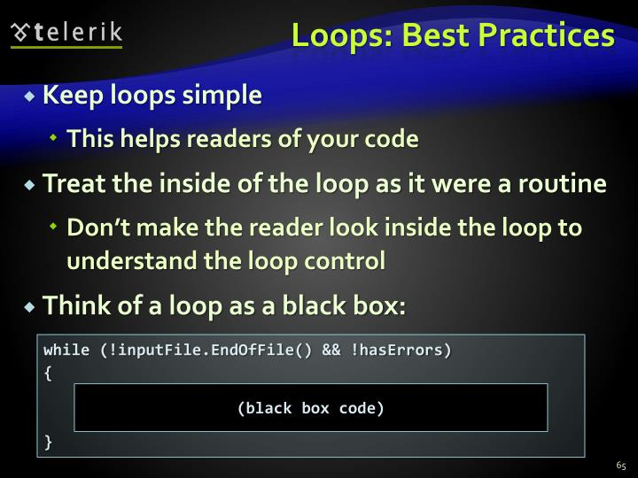Loops: Best Practices
