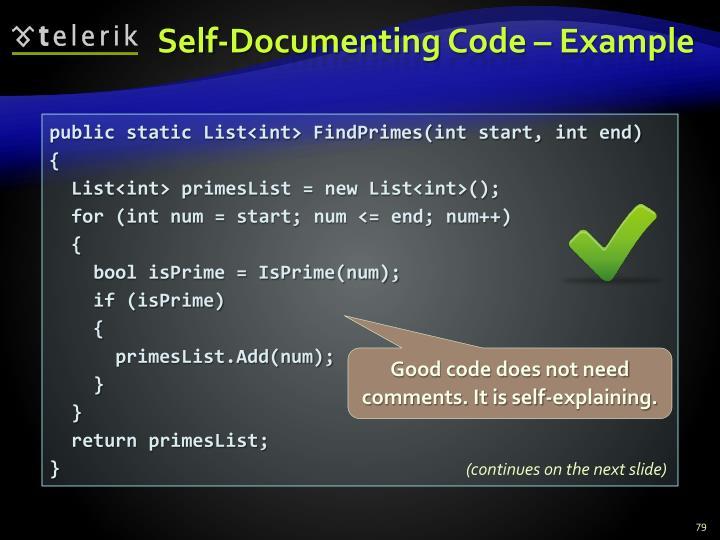 Self-Documenting Code – Example
