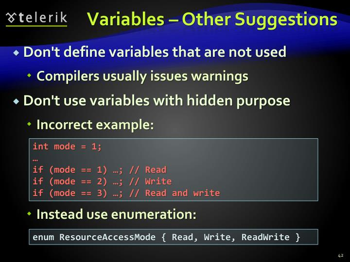 Variables – Other Suggestions