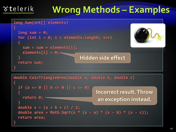 Wrong Methods – Examples