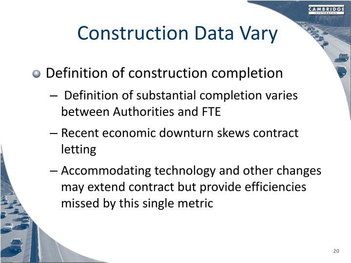 Construction Data Vary