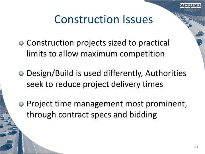 Construction Issues